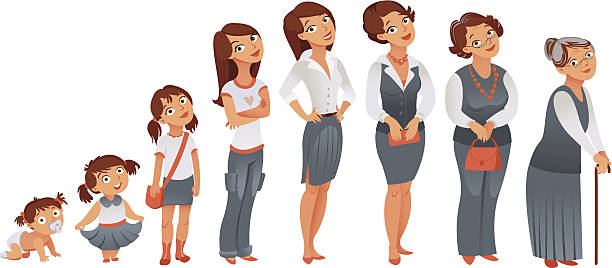 Generations woman. Stages of development vector art illustration