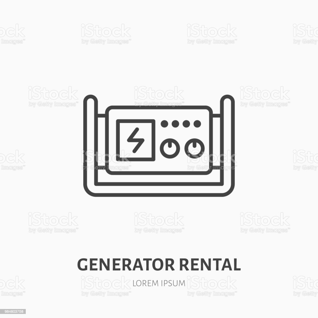 Generator Flat Line Icon Industrial Equipment Rental Sign