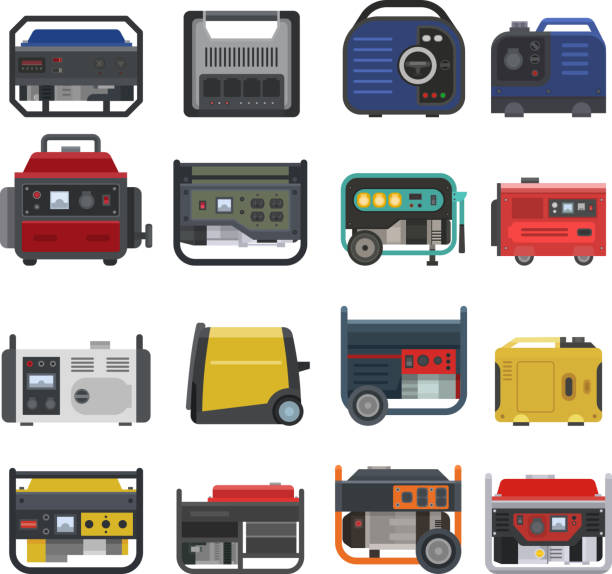 Generator vector power generating portable gasoline petrol fuel energy industrial electrical engine equipment illustration set of diesel industry isolated on white background vector art illustration