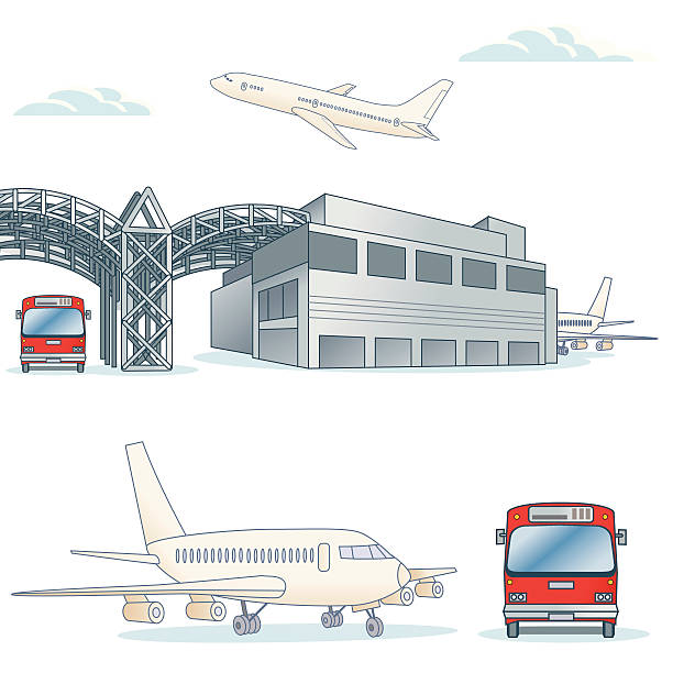 generic airport - russelltatedotcom stock illustrations