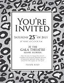 Generic black and white leopard skin print invitation design template