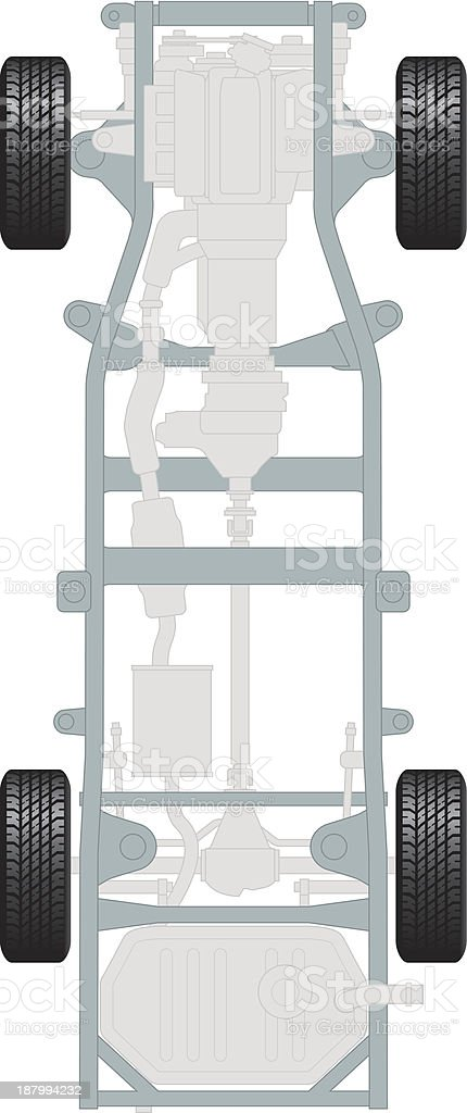 Generic car chassis with engine, gearbox and transmission vector art illustration