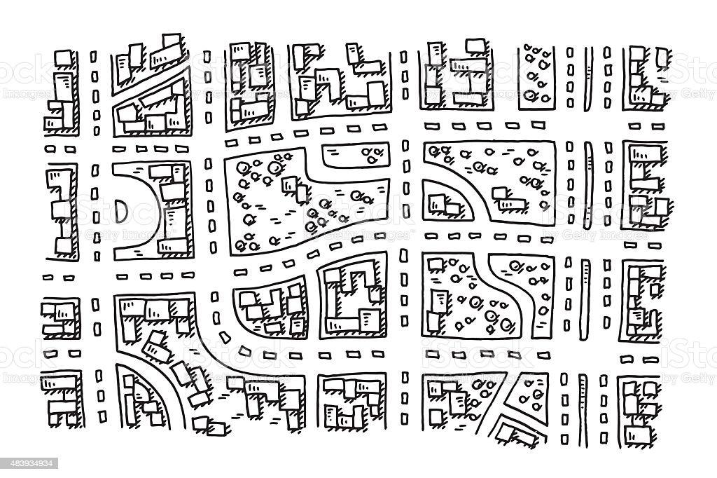 Mapa De Localização De Pontos De Vetor Localização De: Vetor De Comum Mapa Da Cidade Com Vista De Cima De Desenho