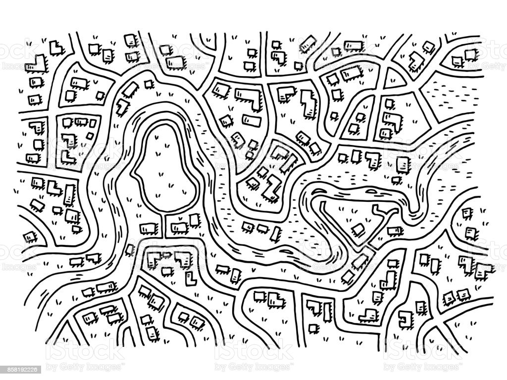 Generic City Map With River Drawing vector art illustration