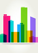 Colourful overlapping silhouettes City buildings
