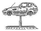 Generic Classic Car Repair Garage Car Lift Drawing
