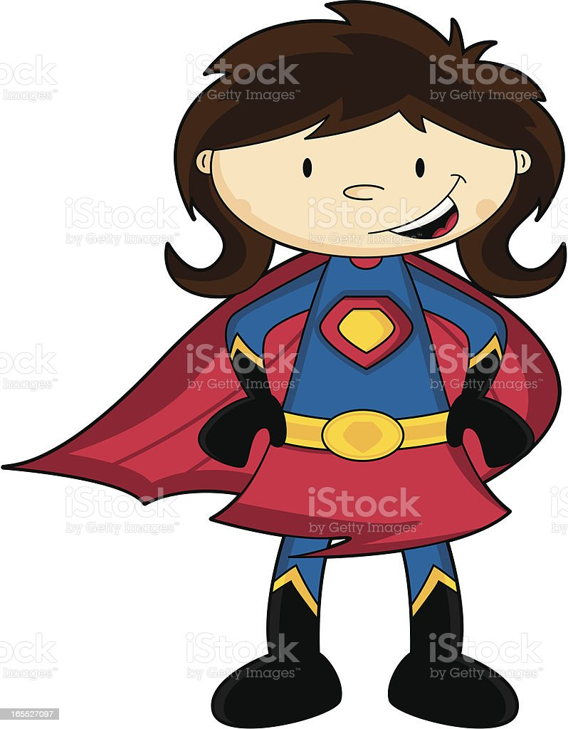Brunette Character Inspiration: Generic Cute Brunette Cartoon Super Girl Character Stock
