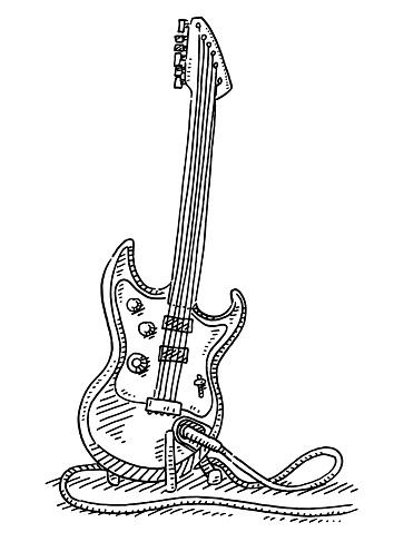 Generic Electric Guitar Music Instrument Drawing