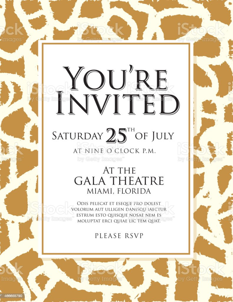 Generic giraffe skin animal print invitation design template stock generic giraffe skin animal print invitation design template royalty free generic giraffe skin animal print stopboris Images