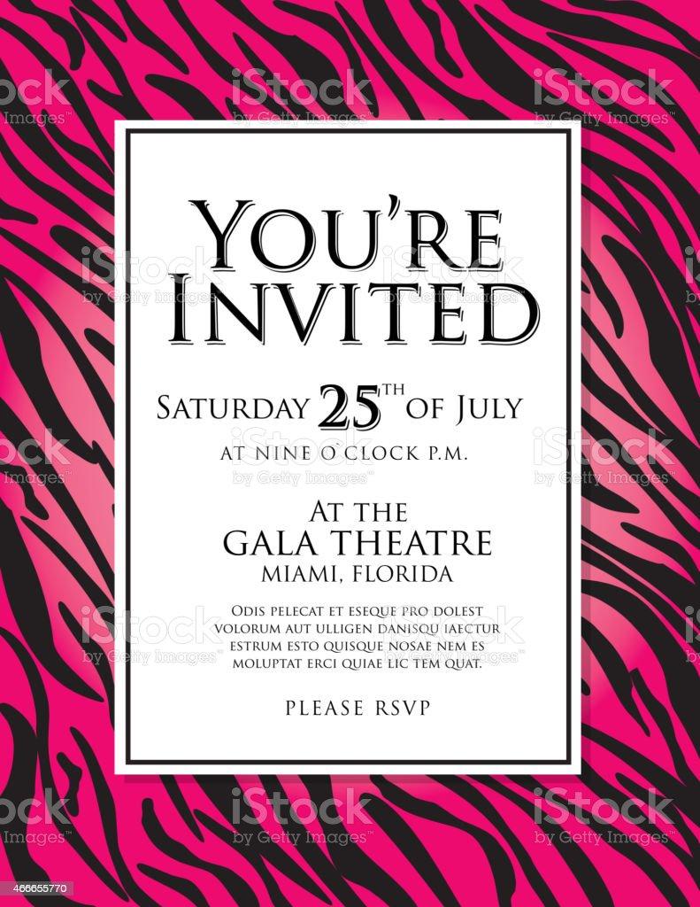 Allgemeiner Hot Pink Zebra Tier Drucken Einladung Designvorlage ...