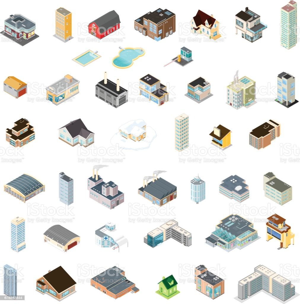 Generic Isometric Buildings Icons. vector art illustration
