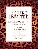 Generic leopard skin animal print invitation design template