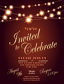 Vector Illustration of Generic Lights invitation design template with string lights. Sample text design. Easy layers for customizing.. Use for garden party invitations, outdoor weddings, receptions. Tent party, ambience, romantic setting, night time setting, string lights, night buffet, tables, chairs, white linen.  Music, string quartet, dancing, dance floor. Glowing and fancy.