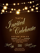 Generic Lights dark brown invitation design template with string lights