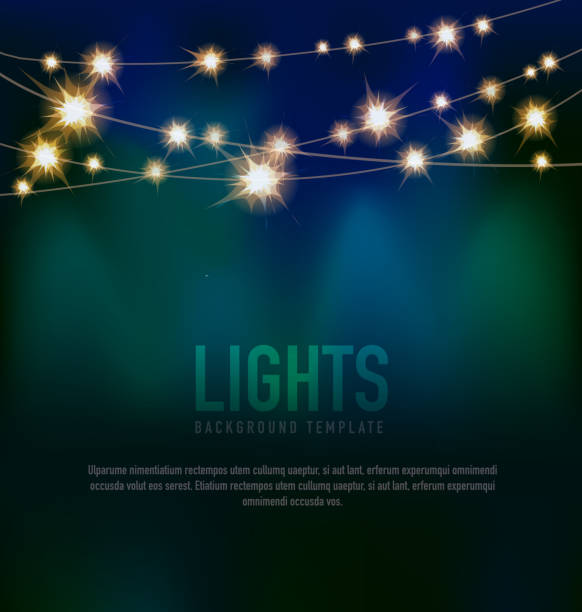 generic lights design template with string lights black teal background - light strings stock illustrations, clip art, cartoons, & icons