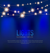 Generic Lights design template with string lights blue background
