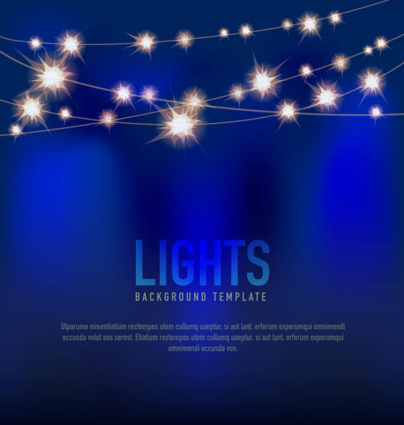 generic lights design template with string lights blue background - light strings stock illustrations, clip art, cartoons, & icons