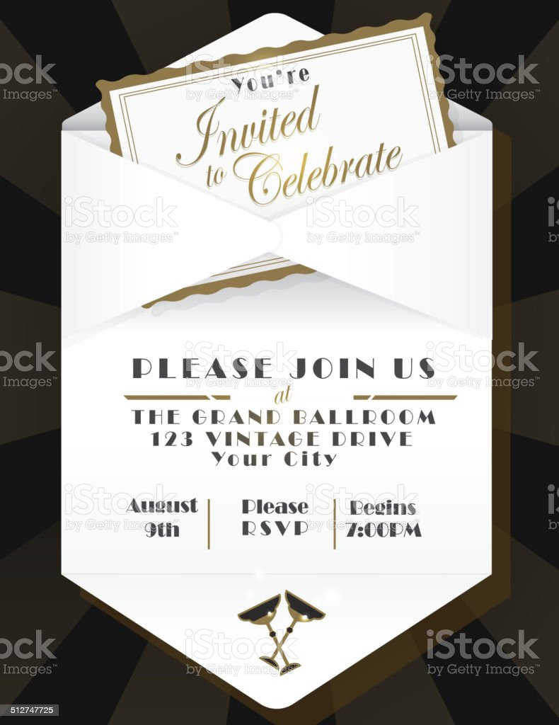 Generic opened envelope invitation design template black background vector art illustration