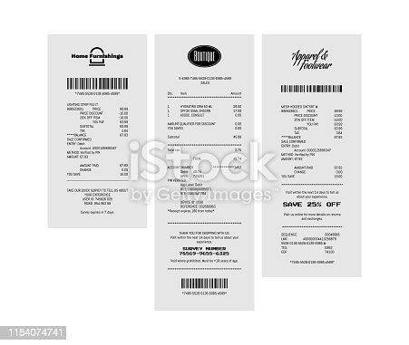 Generic paper receipts in vector format laying on table isolated. Fictitious