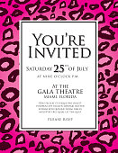 Generic pink leopard skin animal print invitation design template