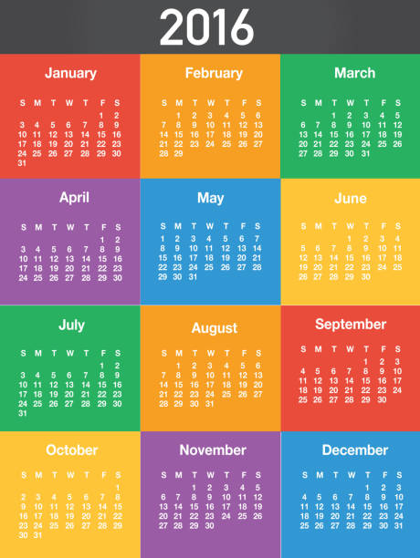 2016 generic printable calendar design template layout - save the date calendar stock illustrations, clip art, cartoons, & icons
