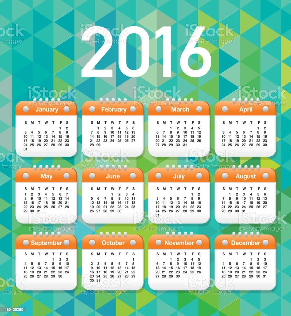 2016 Generic printable calendar design template layout vector art illustration