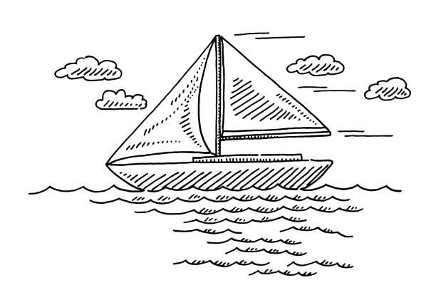 Generic Sailing Boat Drawing vector art illustration