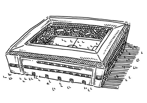 Generic Soccer Stadium Drawing Hand-drawn vector drawing of a Generic Soccer Stadium. Black-and-White sketch on a transparent background (.eps-file). Included files are EPS (v10) and Hi-Res JPG. game stock illustrations