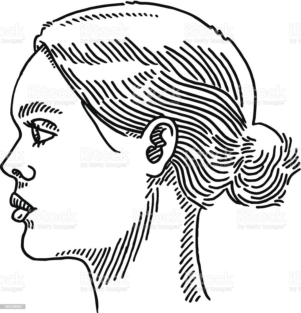 Generic Woman Portrait Side View Drawing royalty-free stock vector art