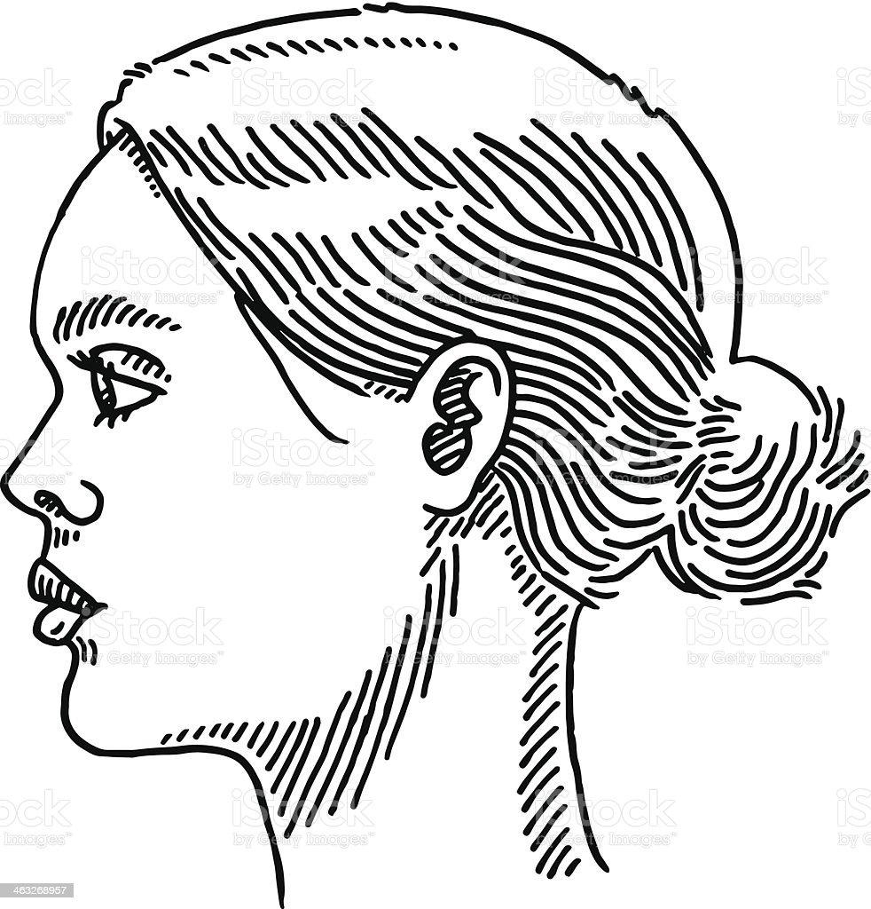 Generic Woman Portrait Side View Drawing vector art illustration