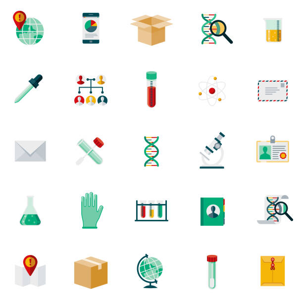Genetic DNA Testing Icon Set A flat design styled icon set. Color swatches are global so it's easy to edit and change the colors. dna test stock illustrations