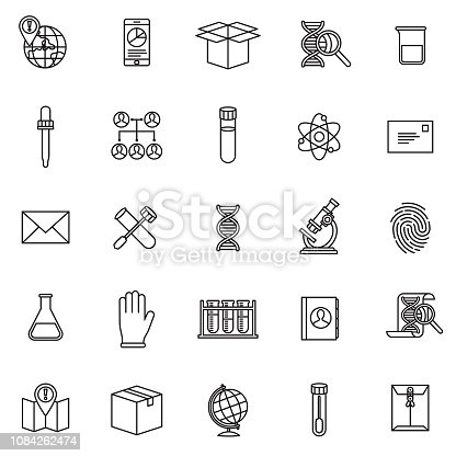 A thin line icon set. Black and white line art.