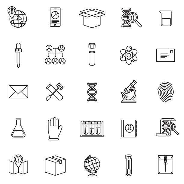 Genetic DNA Testing Icon Set A thin line icon set. Black and white line art. origins stock illustrations