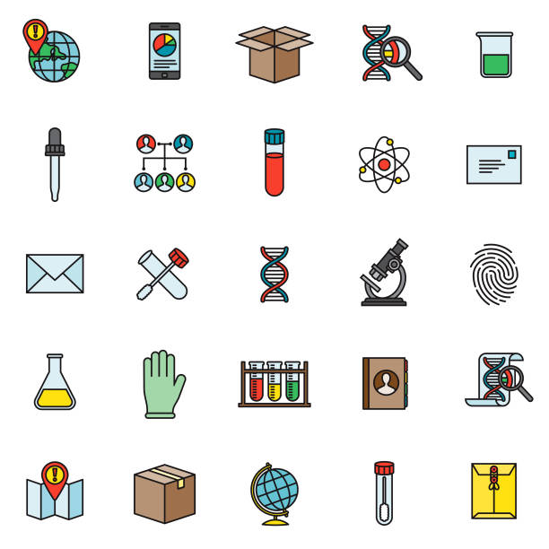 Genetic DNA Testing Icon Set A thin line colored icon set. Color swatches are global so it's easy to edit and change the colors. dna test stock illustrations
