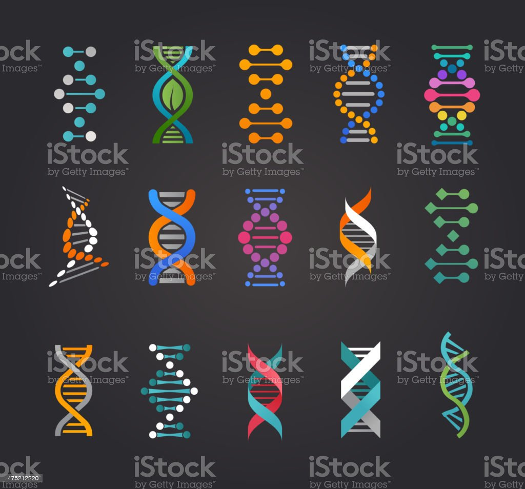 DNA, genetic elements and icons collection DNA, genetic sign, elements and icons collection 2015 stock vector