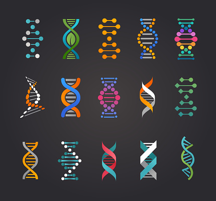 Dna Genetic Elements And Icons Collection Stock Illustration - Download Image Now