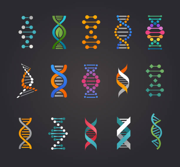 dna, genetic elements and icons collection - dna stock illustrations, clip art, cartoons, & icons