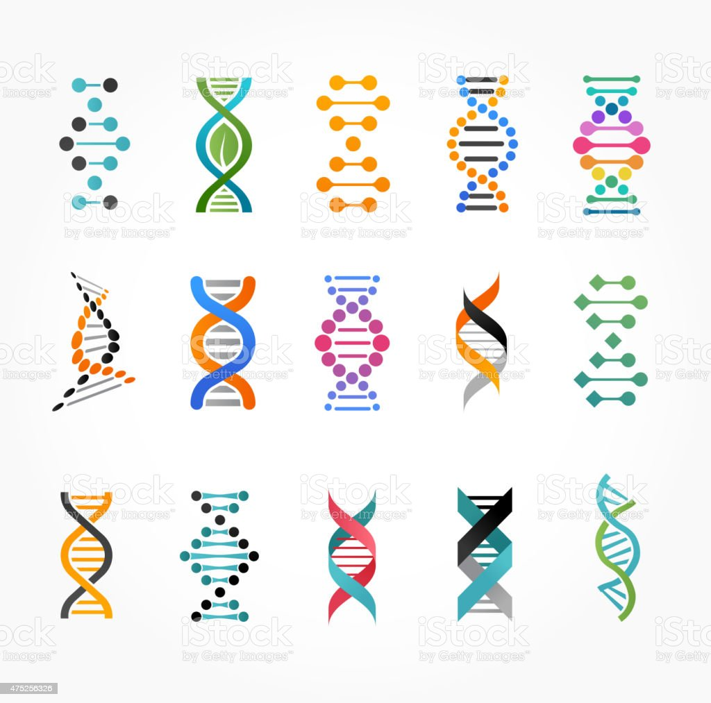 DNA, genetic elements and icons collection vector art illustration