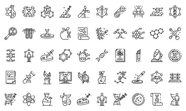 Genetic engineering icons set, outline style Genetic engineering icons set. Outline set of genetic engineering vector icons for web design isolated on white background genomics stock illustrations