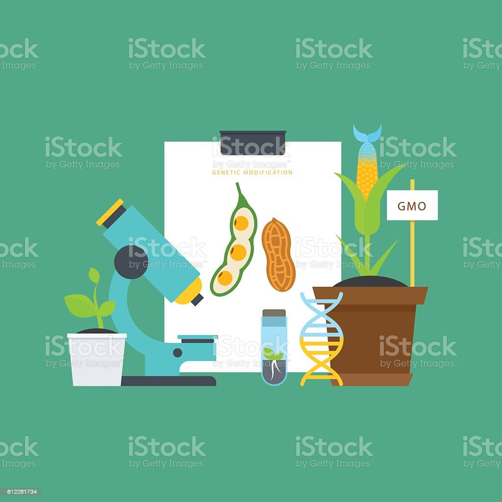 Genetic engineering. Simple botanical concept. vector art illustration
