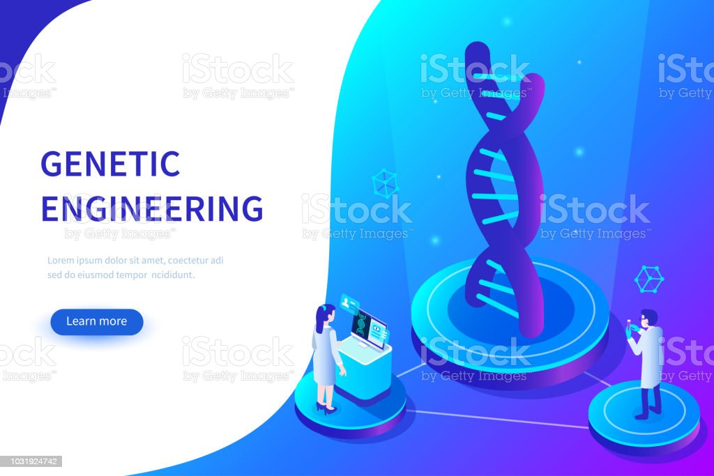 genetic engineering vector art illustration