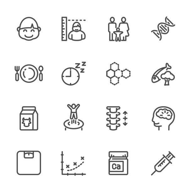 genetische, ernährung, bewegung, lebensstilfaktoren, die die kinder höhe und knochenwachstum. vektor-linie-icons. - stoffwechsel stock-grafiken, -clipart, -cartoons und -symbole