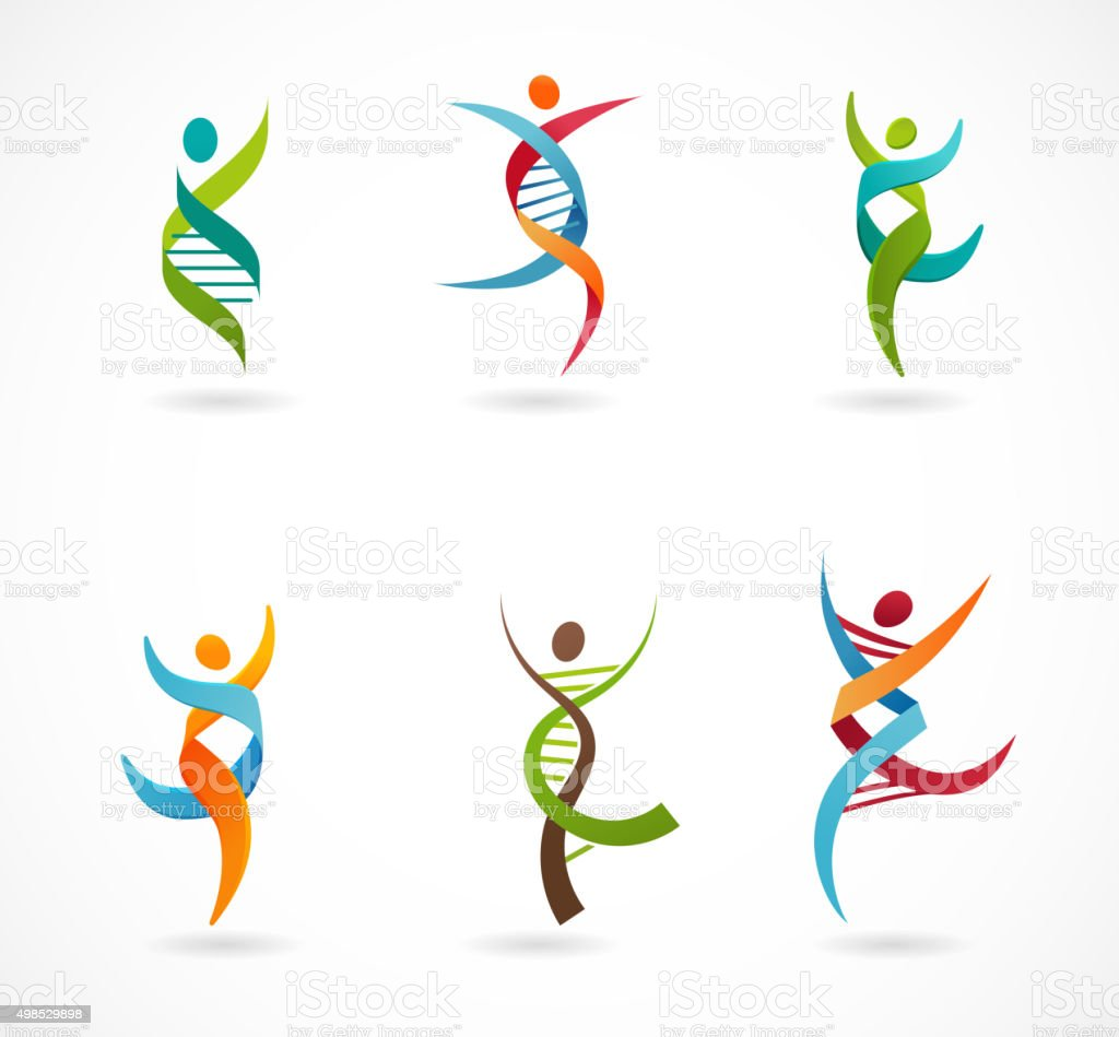 DNA, genetic symbol - people, man and woman icon vector art illustration
