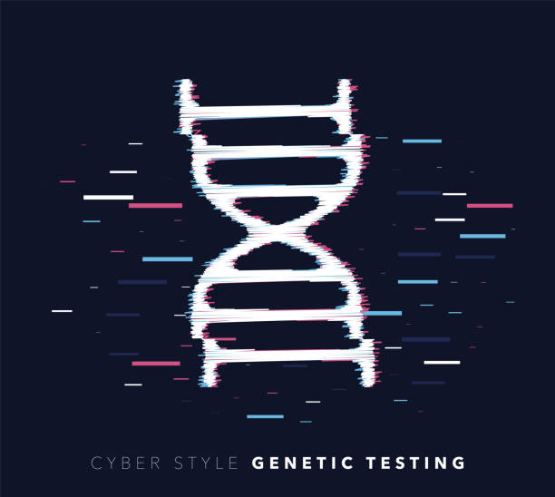 Genetic Testing Glitch Effect Vector Icon Illustration Glitch effect vector icon illustration of genetic testing with abstract background. dna test stock illustrations