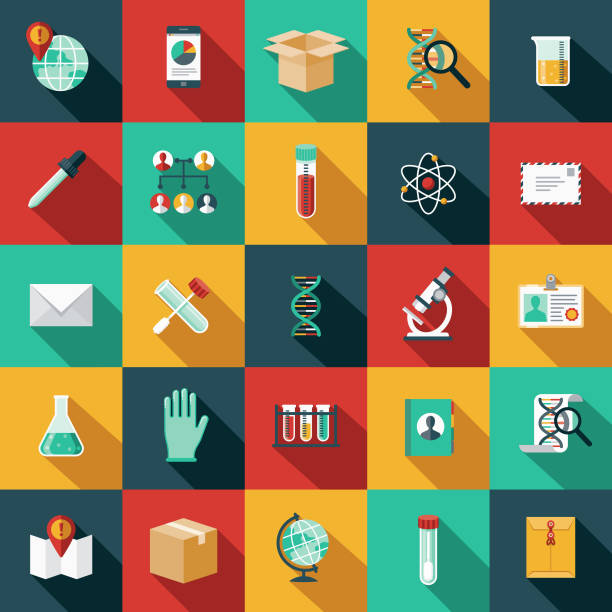 genetic testing icon set - science icons stock illustrations