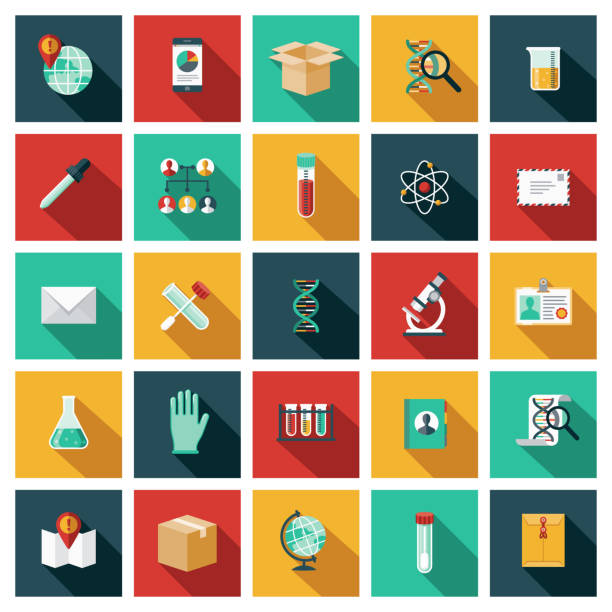 Genetic Testing Icon Set A set of twenty-five square flat design icons with long side shadows. File is built in the CMYK color space for optimal printing. Color swatches are global so it's easy to edit and change the colors. dna test stock illustrations