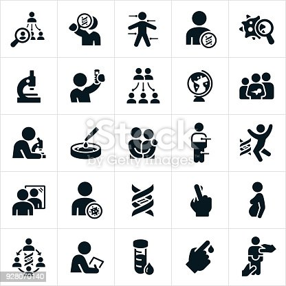 Icons related to DNA, genetic testing and heredity. The icons include families, offspring, DNA strand, DNA testing, and lab equipment to name a few. The icons illustrate concepts related to DNA testing.