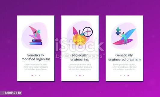 Scientists doing apple jigsaw puzzle. Genetically modified organism and engineered organism, molecular engineering concept on white background. Mobile UI UX GUI template, app interface wireframe