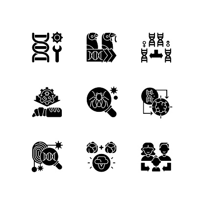Genetics black glyph icons set on white space