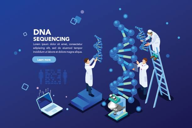 genetics laboratory biotech banner - bio tech stock illustrations